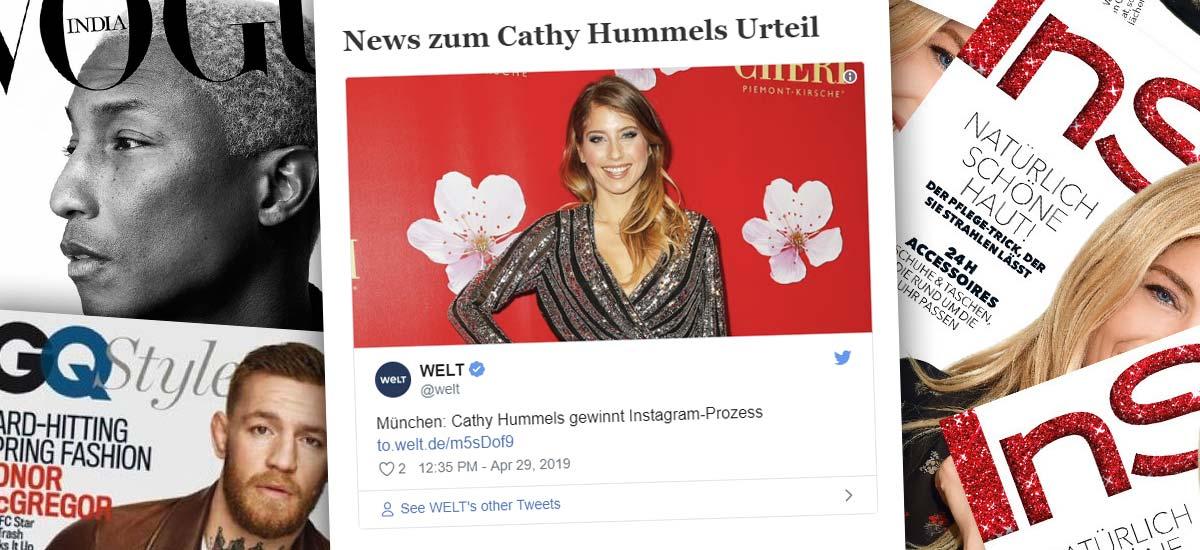 Cathy Hummels gagne le procès à Munich : Publicité sur Instagram - Jugement